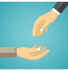 Hand giving golden coin to another hand vector image