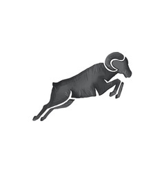 Ram Goat Silhouette Jumping Watercolor vector image