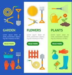 cartoon gardening equipment banner vecrtical set vector image