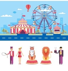 Circus with animal trainers and magician vector image