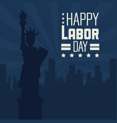colorful poster of happy labor day with dark blue vector image vector image