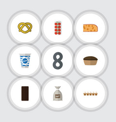 Flat icon meal set of sack tart tomato and other vector