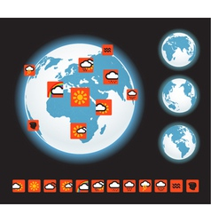 Forecast icons and Earth template vector image vector image