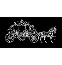 Horse carriage silver silhouette vector image vector image