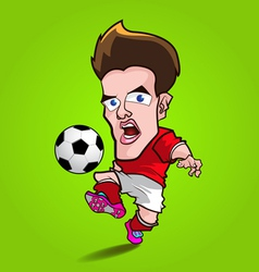 red shirt play football cartoon vector image
