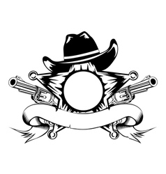 sheriffs star and revolvers vector image