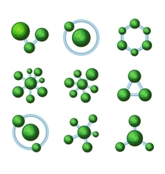 Abstract Green Molecules Icon Set on White vector image