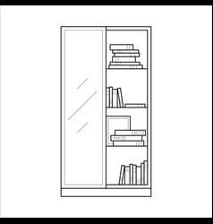 bookcase home furniture lineart design interior vector image vector image