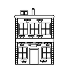 building residential brick chimney windows line vector image vector image