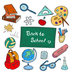 Colorful back to school hand-drawn doodle set vector