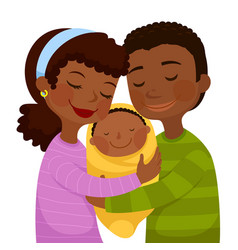 dark skinned parents with a baby vector image