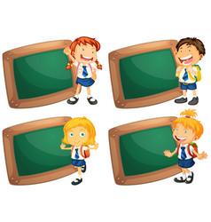 four frames with happy children in school uniform vector image vector image