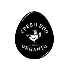fresh egg logo with hen and egg form background vector image vector image