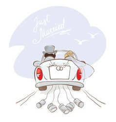 Newlyweds in a car vector image vector image