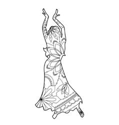 Oriental dancer coloring vector image vector image