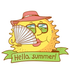 sun character with fan vector image vector image