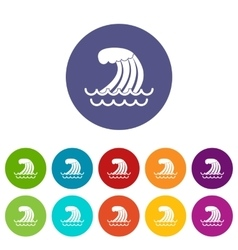 Tsunami wave set icons vector image