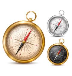 vintage compass in metal case vector image