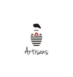 Artisans mustache france painter artist beret logo vector