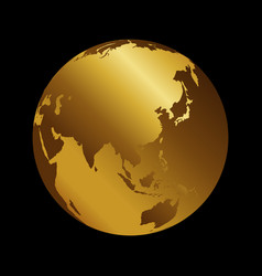 asia golden 3d metal planet backdrop view russia vector image