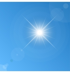 background of blue sky and sun vector image