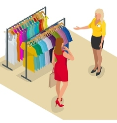 Beautiful brunette doing shopping in clothes store vector