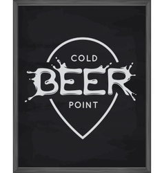 Beer point lettering poster Pub emblem on vector image