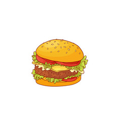 big hamburger with beef bun with sesame seeds and vector image