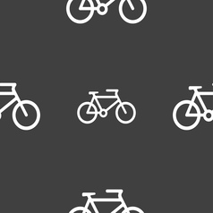 bike icon sign Seamless pattern on a gray vector image