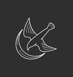 Bird and moon vector
