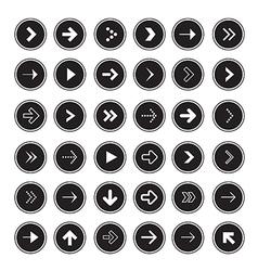 Black Arrows Set in Circles vector image