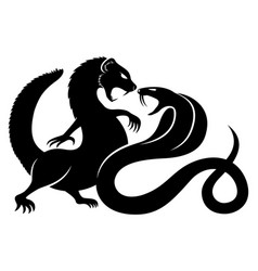 black mongoose and cobra vector image