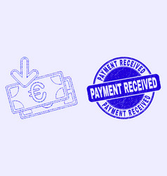Blue scratched payment received stamp and euro vector
