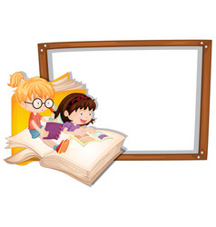 Border template with two girls reading vector