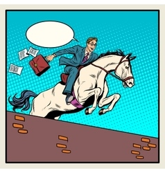 Businessman horseman on horse jumps over barrier vector image
