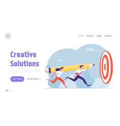 businesspeople achieve goal website landing page vector image