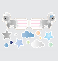 cartoon cute toy pony clouds and stars vector image