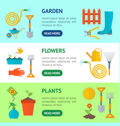 cartoon gardening equipment banner horizontal set vector image