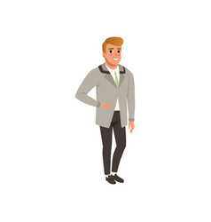 Cheerful young man in fashion elegant clothes vector