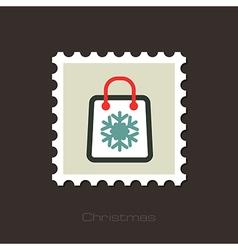 Christmas Shopping bag stamp vector image