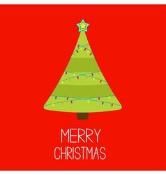Christmas tree with lights Merry Christmas card vector image