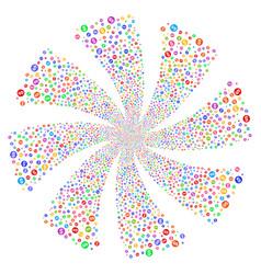 Coin fireworks swirl flower vector