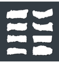 Collection white ripped pieces of paper with rough vector