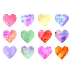 Colorful watercolor hearts vector