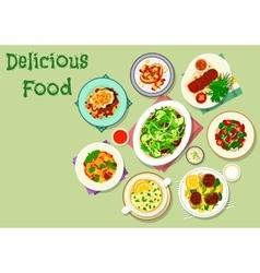 Comfort food for dinner menu icon design vector
