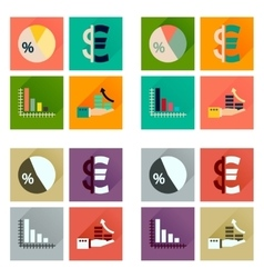 Concept of flat icons with long shadow money vector image