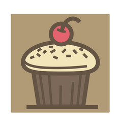 Cupcake with cherry on top isolated icon baking vector