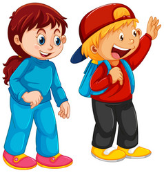 cute boy and girl character vector image