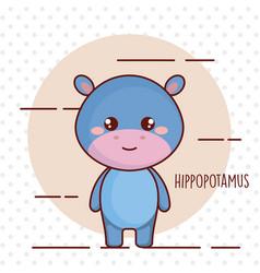 cute hippopotamus tender character vector image