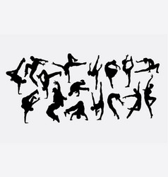 dancer male and female silhouettes vector image